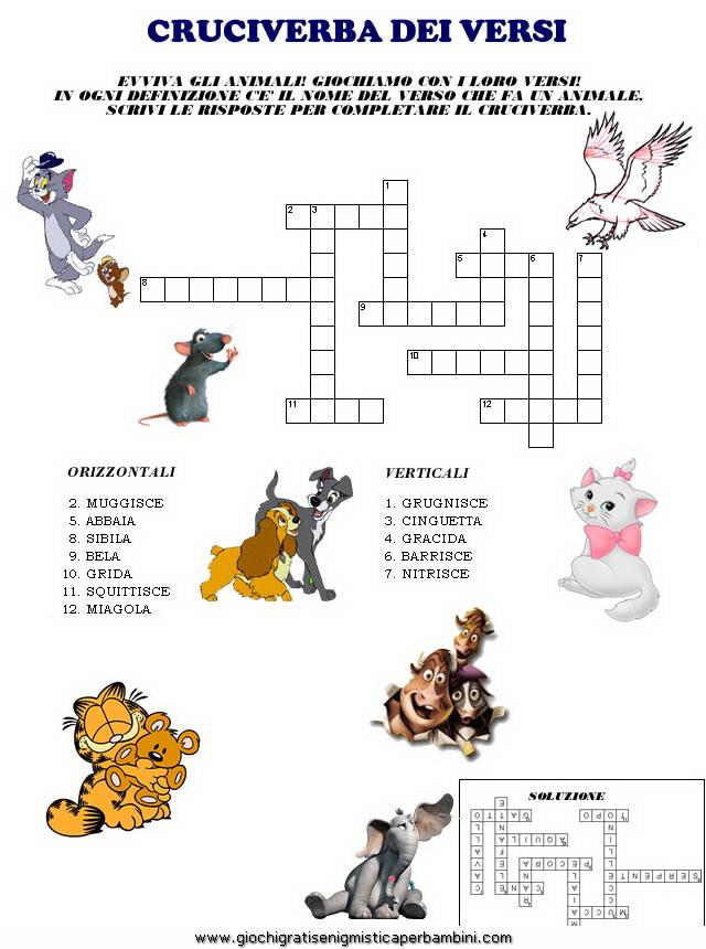 Estremamente cruciverba_versi_degli_animali Giochi per bambini GD02
