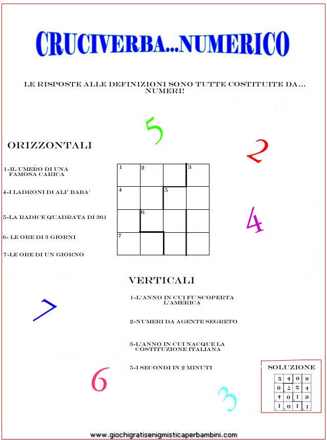 Cruciverba numerico cruciverba con i numeri for Enigmistica facile da stampare