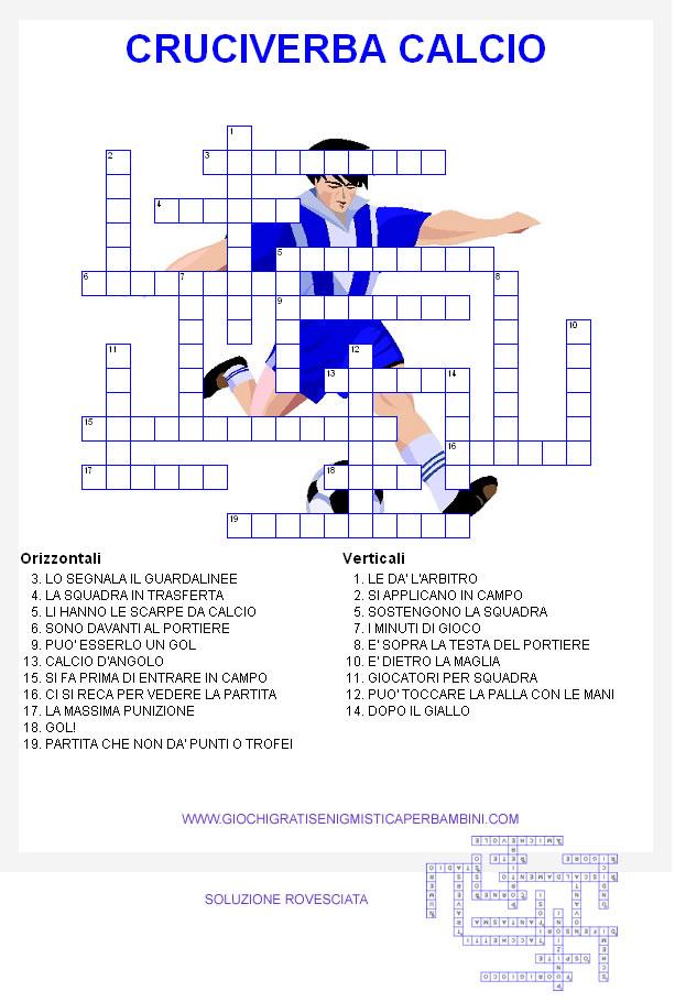 Cruciverba di sport il calcio for Cruciverba per anziani da stampare