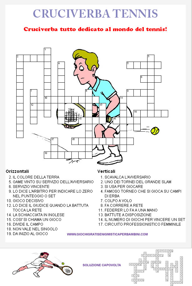 Cruciverba di sport il tennis for Cruciverba per anziani da stampare